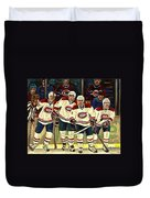 Hockey Art The Habs Fab Four Duvet Cover by Carole Spandau
