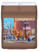 Hockey At Beautys Deli Duvet Cover by Carole Spandau