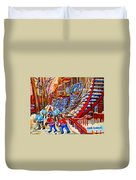 Hockey Game Near The Red Staircase Duvet Cover