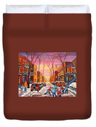 Hockey On Hotel De Ville Street Duvet Cover
