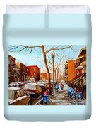 Hockey On St Urbain Street Duvet Cover