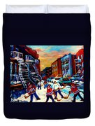Hockey Paintings Of Montreal St Urbain Street City Scenes Duvet Cover