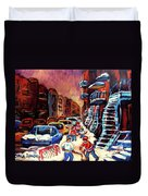 Hockey Paintings Of Montreal St Urbain Street Winterscene Duvet Cover