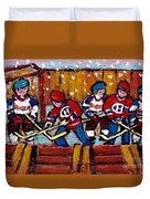 Hockey Rink Paintings New York Rangers Vs Habs Original Six Teams Hockey Winter Scene Carole Spandau Duvet Cover
