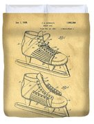 Hockey Skates Patent Art Blueprint Drawing Duvet Cover