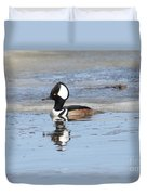 Hodded Merganser With Reflection Duvet Cover