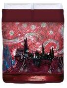 Hogwarts Starry Night In Red Duvet Cover