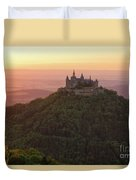 Hohenzollern Castle At Sunset Duvet Cover by Yair Karelic