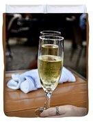 Holding Champagne Glass In Hand Duvet Cover