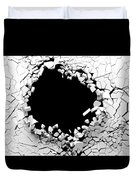 Hole On A Broken White Wall Blank Space. 3d Illustration. Duvet Cover