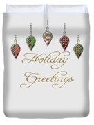Holiday Greetings Merry Christmas Duvet Cover