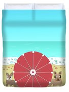 Holiday Romance Behind The Red Umbrella Duvet Cover