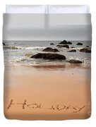 Holiday Written In The Sand Duvet Cover