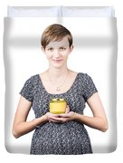 Holistic Naturopath Holding Jar Of Homemade Spread Duvet Cover