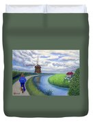 Holland Windmill Bike Path Duvet Cover