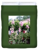 Hollyhocks Taos New Mexico Duvet Cover