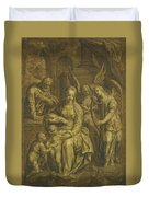 Holy Family With Angels Duvet Cover