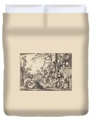 Holy Family With Putti Duvet Cover