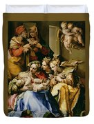 Holy Family With Saint Anne Catherine Of Alexandria And Mary Magdalene Duvet Cover