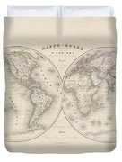 Homalographic World Map  Duvet Cover