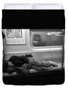 Homeless In Motion In Black And White Duvet Cover