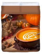 Homemade Pumpkin Soup On A Rustic Table With Autumn Decorations Duvet Cover