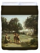 Homer And The Shepherds In A Landscape Duvet Cover by Jean Baptiste Camille Corot