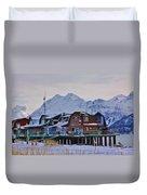 Homer Spit Board Walk Winter Moments Duvet Cover