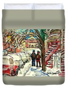 Original Art For Sale Montreal Petits Formats A Vendre Walking To School On Snowy Streets Paintings Duvet Cover