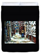 Buy Original Paintings Montreal Petits Formats A Vendre Scenes Man Shovelling Snow Winter Stairs Duvet Cover