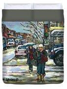 Rue Cote St Catherine Peintures Petit Format A Vendre Scenes De Ville Montreal Street Scenes  Duvet Cover