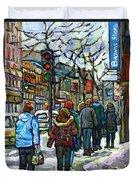Promenade Au Centre Ville Rue Ste Catherine Montreal Winter Street Scene Small Paintings  For Sale Duvet Cover
