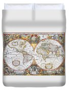 Hondius World Map, 1630 Duvet Cover by Photo Researchers