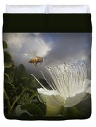 Honey Bee Apis Mellifera Approaching Duvet Cover by Mark Moffett