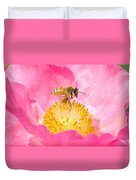 Honey Bee Collecting Pollen Duvet Cover