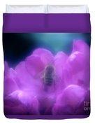 Honey Bee In Rhododenron Duvet Cover