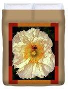 Honey Bee In Stunning White And Gold Flower Duvet Cover