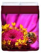 Honey Bee Pollinating Zinnia Duvet Cover