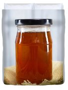 Honey In Clear Glass Jar Duvet Cover