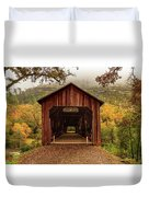 Honey Run Covered Bridge In Autumn Duvet Cover