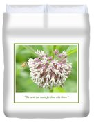 Honeybee And Milkweed Flowers Duvet Cover