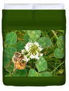 Honeybee Drinking From Clover Bloom   Summer  Indiana Duvet Cover