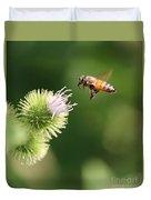Honeybee Flying To Thistle  Duvet Cover