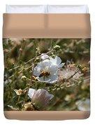 Honeybee Gathering From A White Flower Duvet Cover