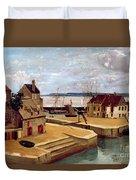 Honfleur  Houses On The Quay Duvet Cover