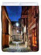 Honfleur Street At Night Duvet Cover