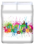 Hong Kong Skyline Paint Splatter Text Illustration Duvet Cover