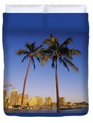 Honolulu And Palms Duvet Cover