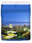 Honolulu City Lights Duvet Cover