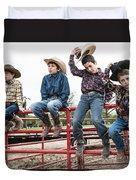 Honoring A Fallen Cowboy Duvet Cover